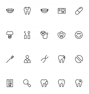 Dental Line Vector Icons 3
