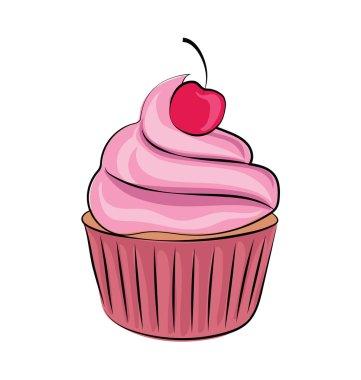Cupcake Sketchy Colored Vector Icon
