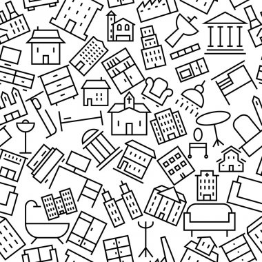 Building and Furniture Hand Drawn Icon Pattern