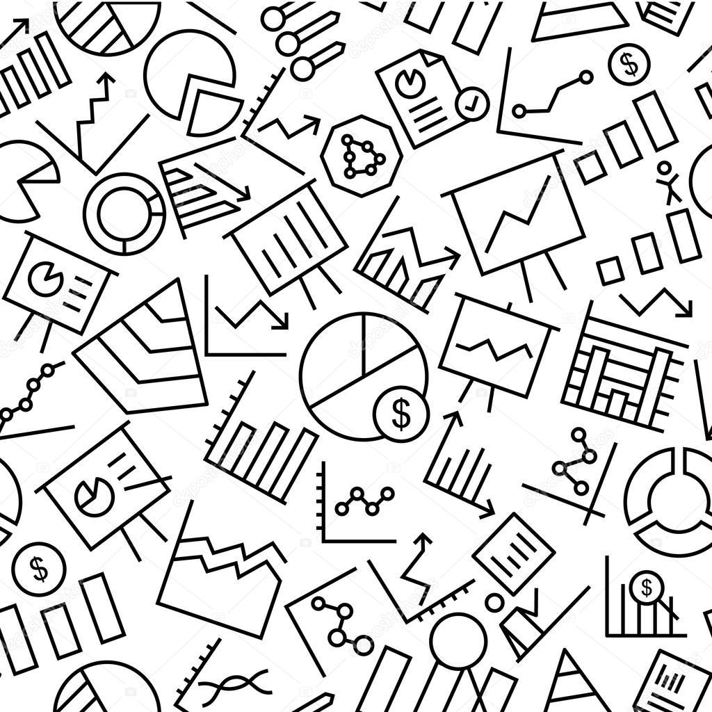 Business Charts Seamless Icon Pattern Background