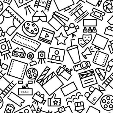 Multimedia / Cinema Hand Drawn Seamless Icon Pattern
