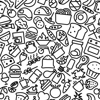 Food and Drinks Seamless Outline Iconic Pattern