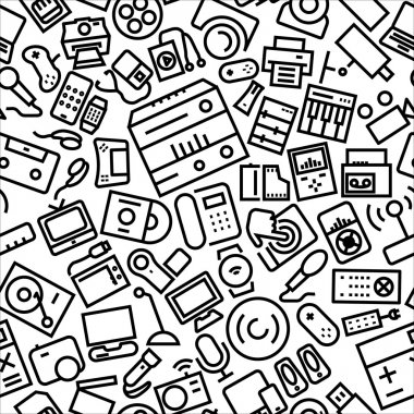 Gadgets Outline Icon Pattern Background