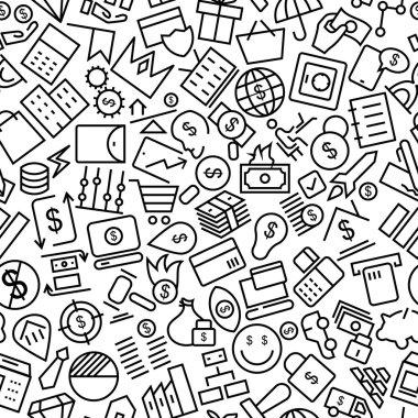 Money Seamless Hand Drawn Line Icon Pattern