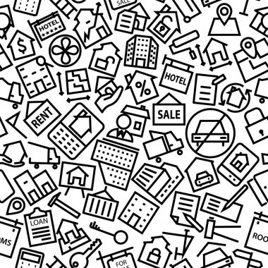 Real Estate Hand Drawn Line Icon Pattern