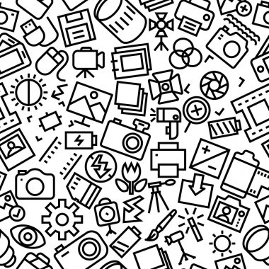 Photography Sketchy Hand Drawn Icon Pattern Background