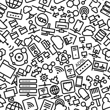 Network and Sharing Line Icon Pattern Illustration
