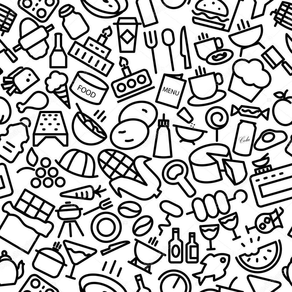 Food and Drinks Seamless Sketchy Icon Pattern Illustration