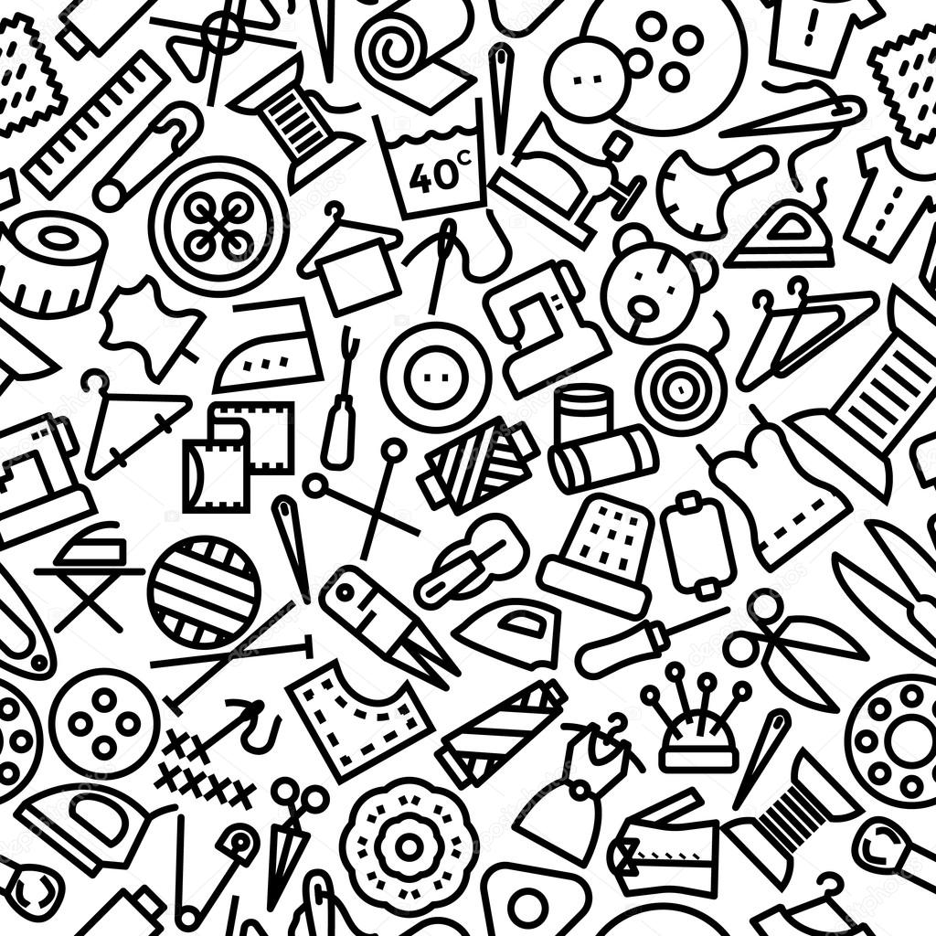 Nähen-handgezeichnete Muster-Ikonen-Hintergrund — Stockvektor ...