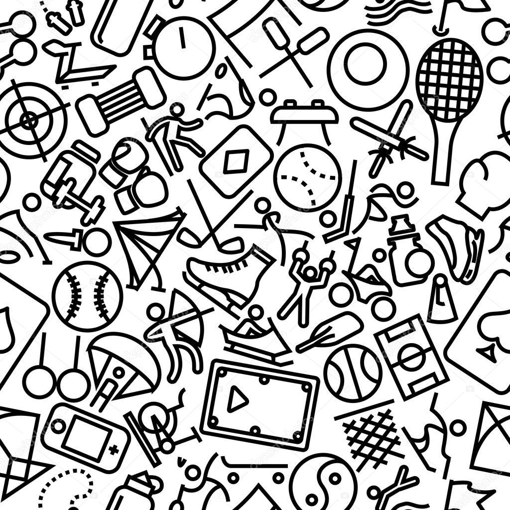 Deportes › contorno dibujado mano icono patrón — Vector de stock ...