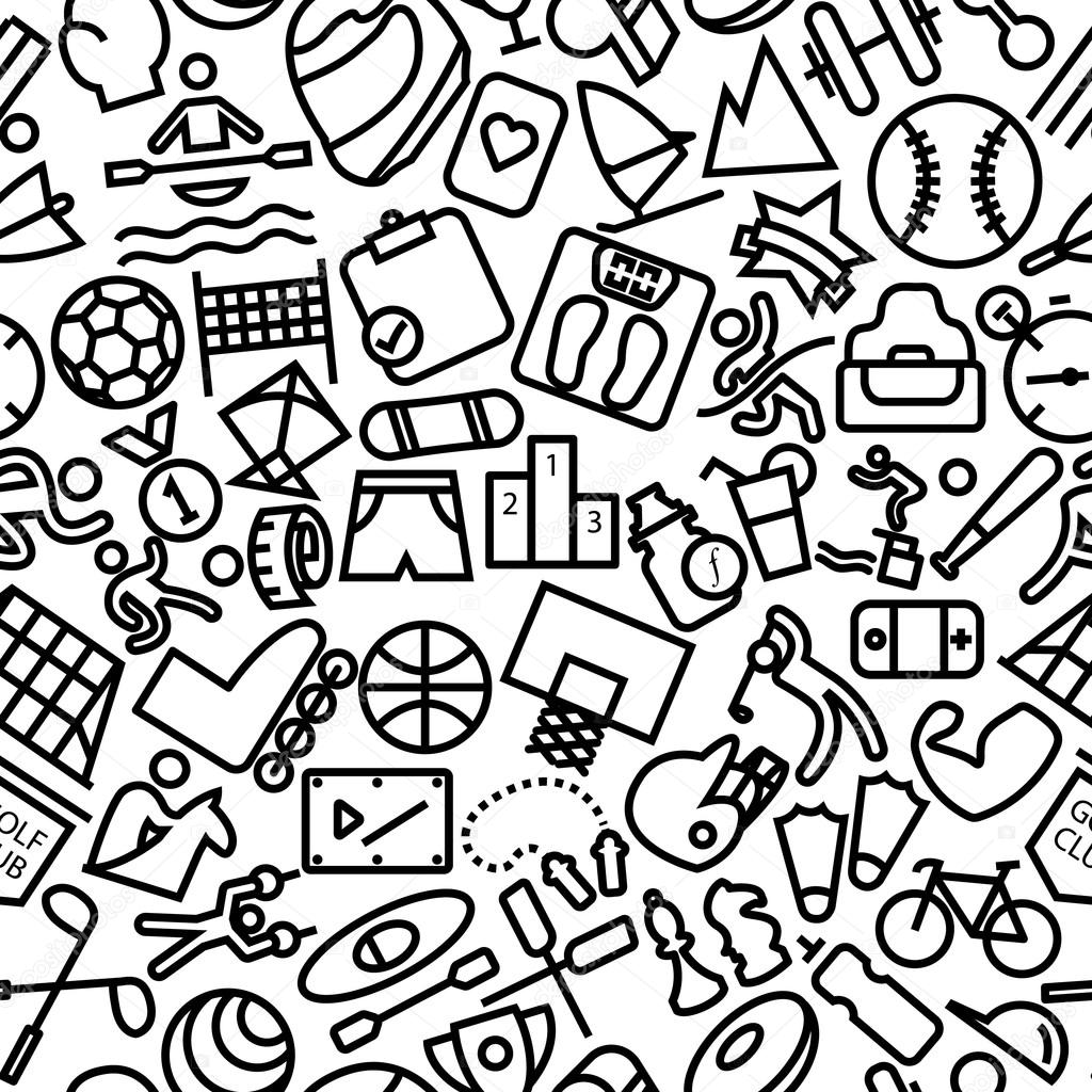 Sports Seamless Hand Drawn Icon Pattern