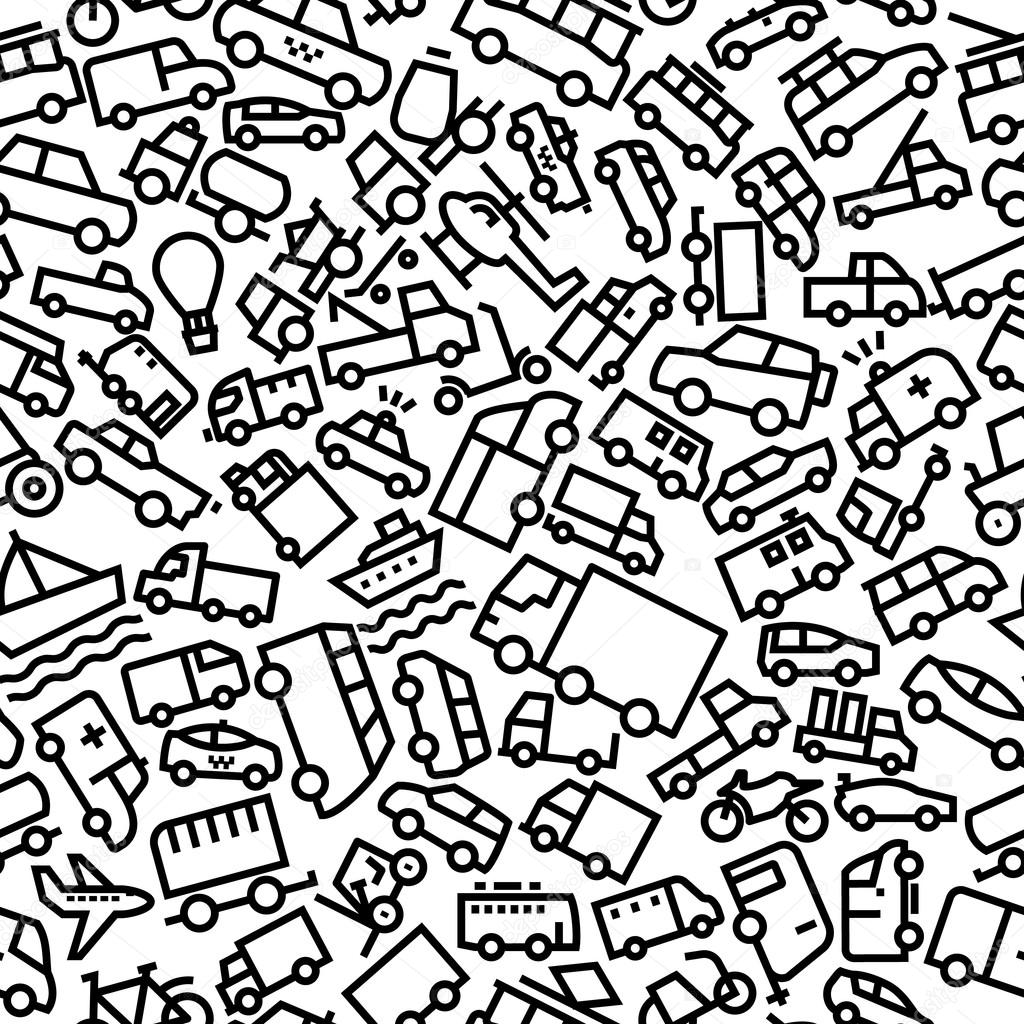 Vehicles Hand Drawn Outline Icon Pattern Background