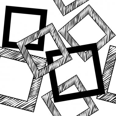 Squares Seamless Sketchy Outline Pattern