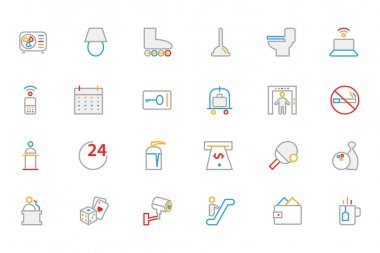 Hotel and Restaurant Colored Outline Vector Icons 3