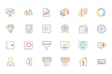 Business and Finance Colored Outline Icons 3
