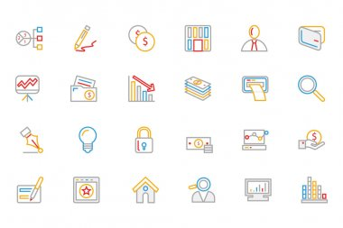 Business and Finance Colored Outline Icons 6
