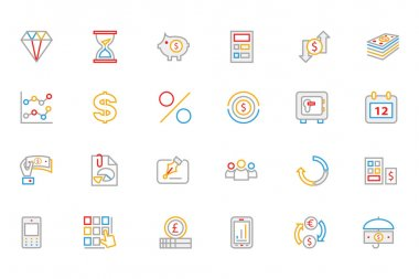 Business and Finance Colored Outline Icons 7