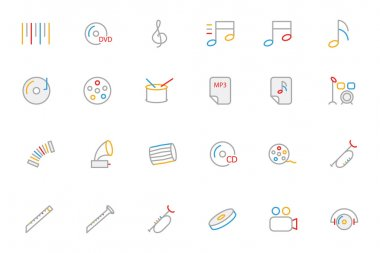 Music Colored Outline Vector Icons 2