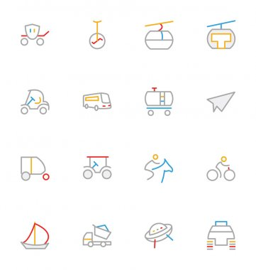 Transport Colored Outline Vector Icons 6