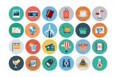 Flat Travel and Tourism Vector Icons 2