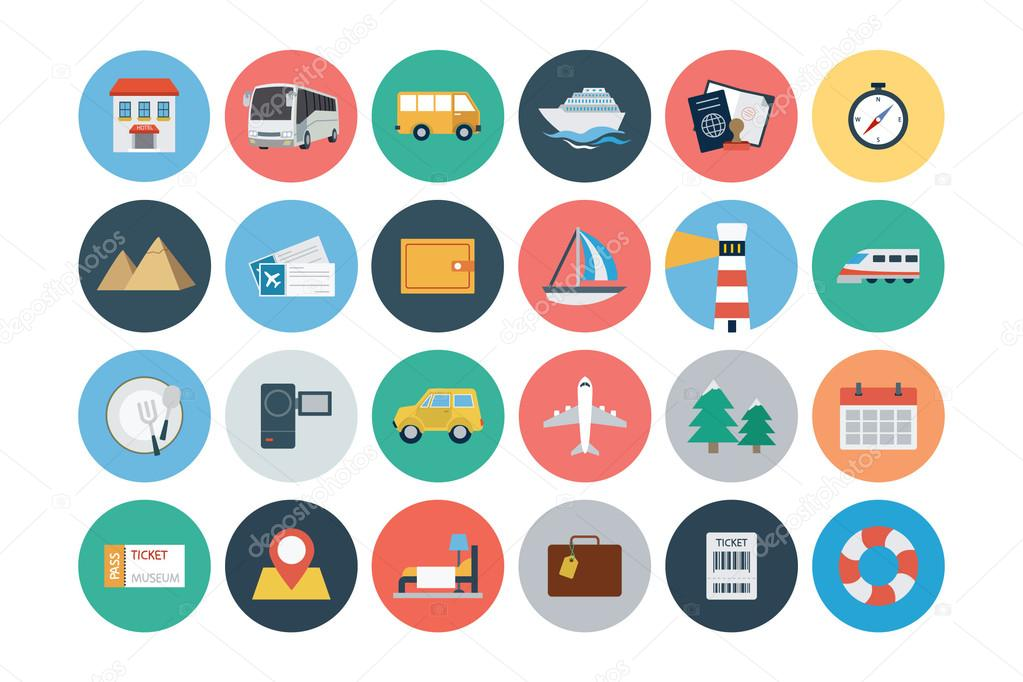 Flat Travel and Tourism Vector Icons 1