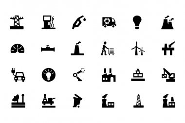 This industrial vector icon set is aimed for use in your projects related to industry or construction. stock vector