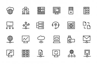 Database and Server Line Vector Icons 3