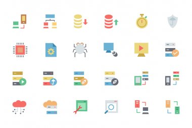 Database and Server Colored Vector Icons 4