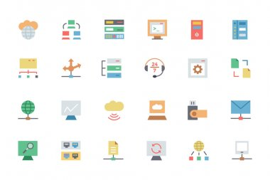 Database and Server Colored Vector Icons 3