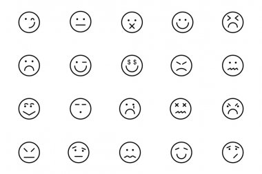Smiley Line Vector Icons 6