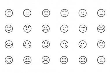 Smiley Line Vector Icons 4