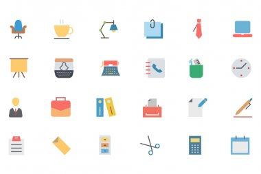 Flat Office Vector Icons 1