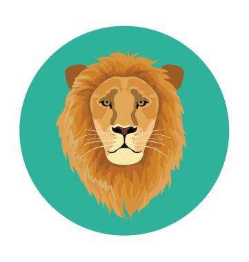 Lion Face  Flat Icon Illustration