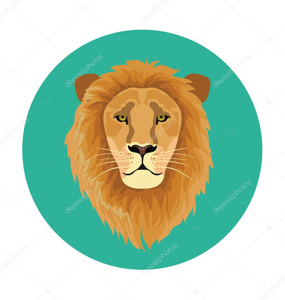 Lion Face  Flat Icon Illustration