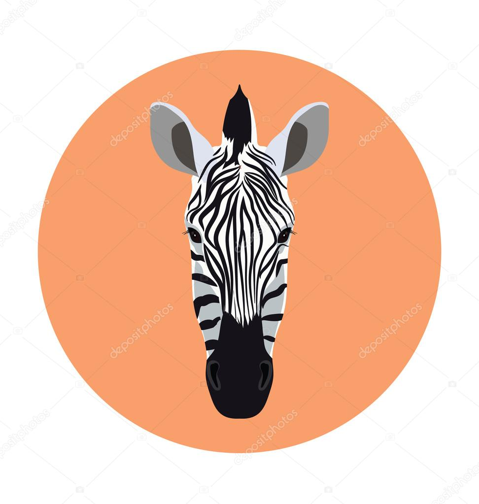 Zebra Face  Flat Icon Illustration