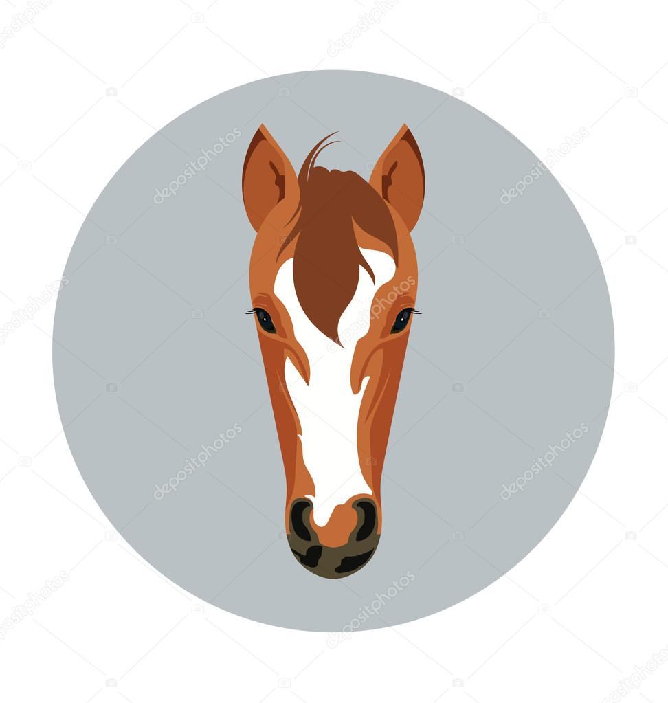 Horse Face Flat Icon Illustration