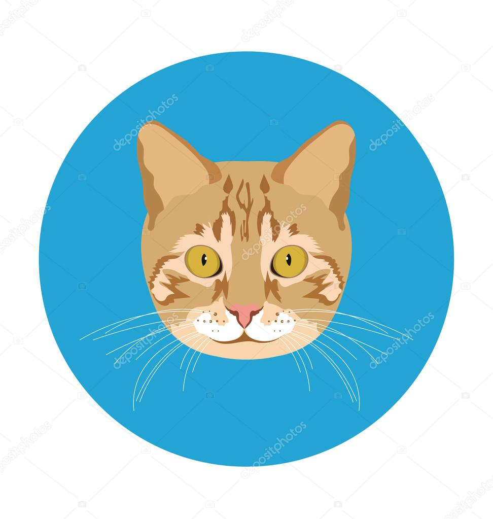Cat Flat Icon Illustration