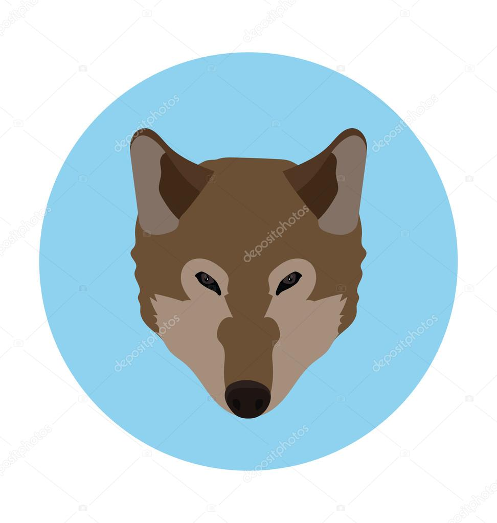 Canis Lupus Flat Icon Illustration
