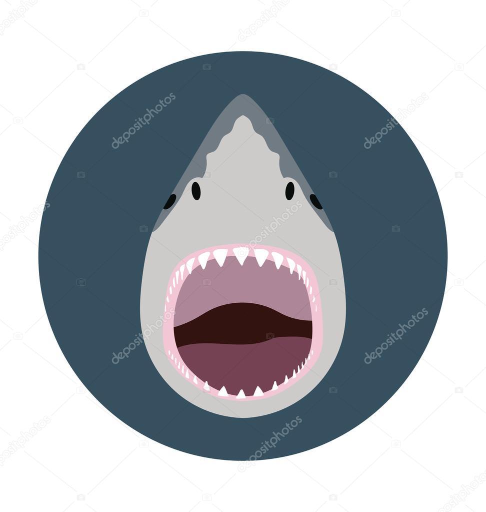 Shark Head Flat Icon Illustration