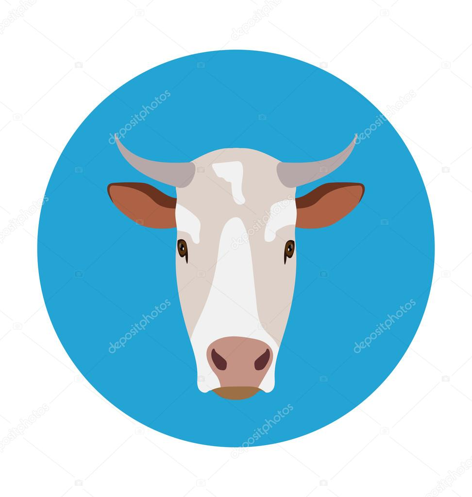 Cow Flat Icon Illustration