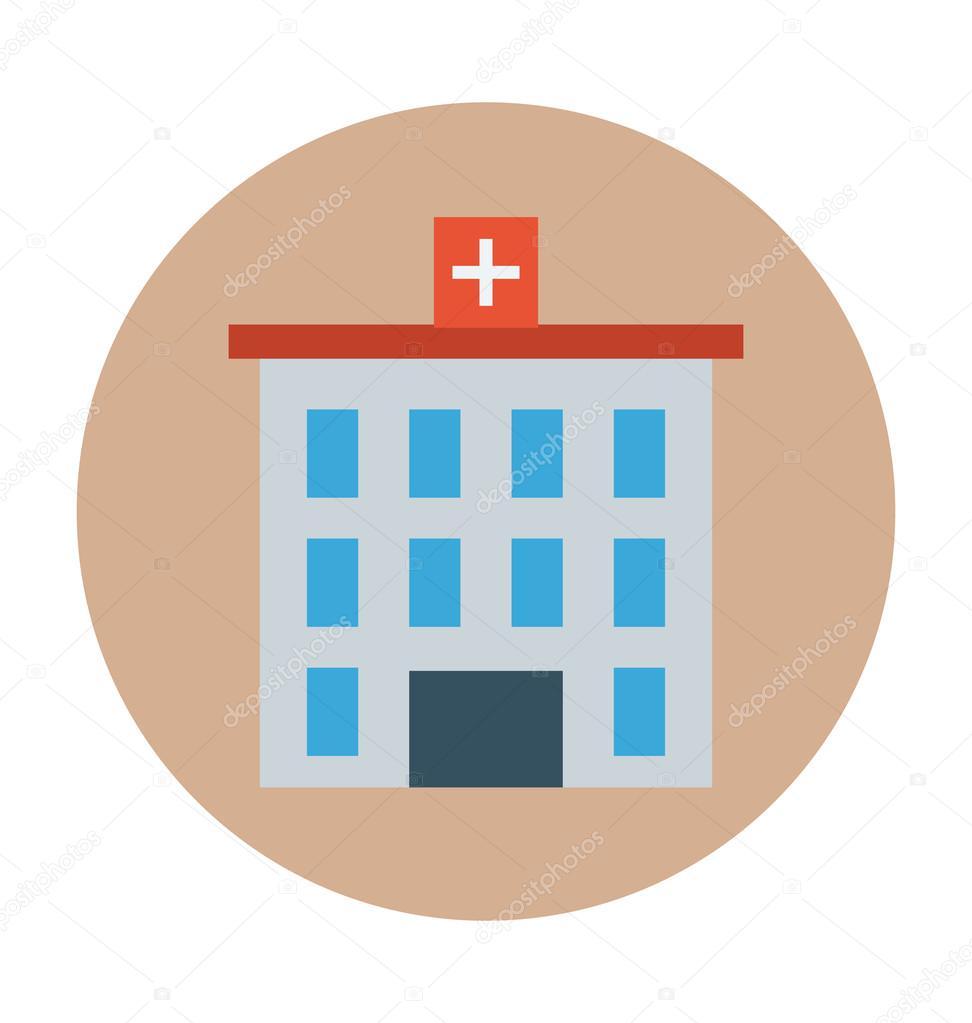 Hospital Building Colored Vector Illustration