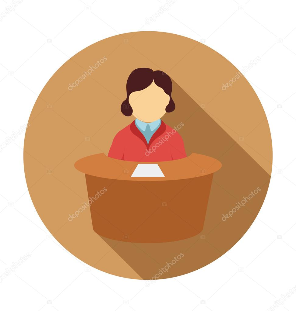 Receptionist Colored Vector Illustration