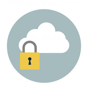 Cloud Lock Colored Vector Illustration