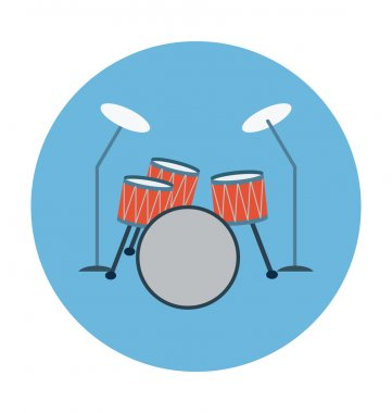 Drum Kit Colored Vector Icon