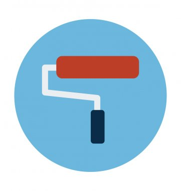 Paint Roller Colored Vector Illustration