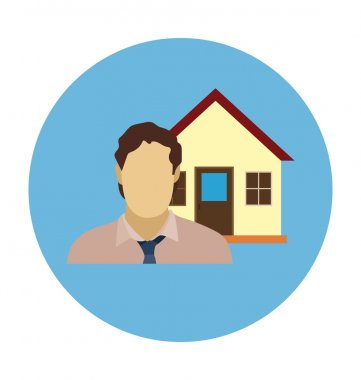 Real Estate Agent Colored Vector Illustration