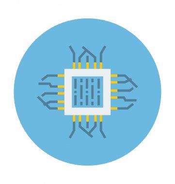 Processor Chip Colored Vector Icon