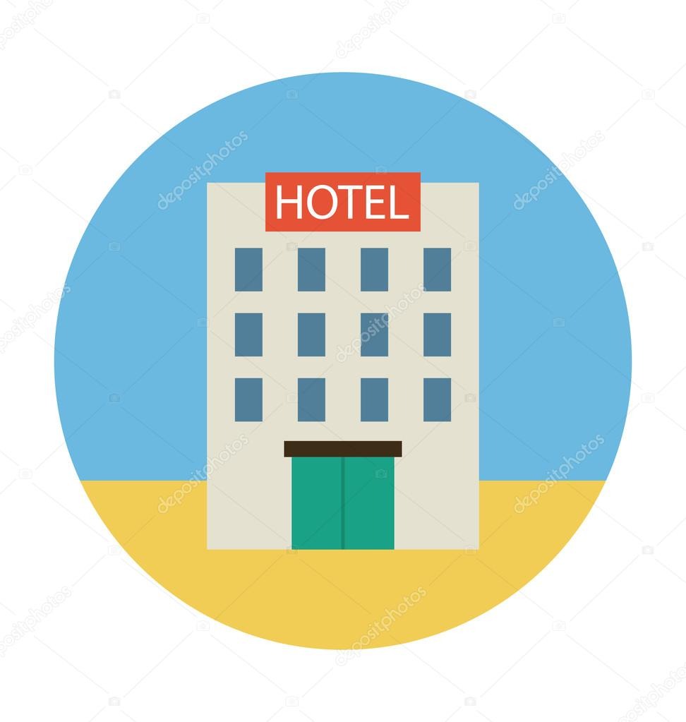 hotel colored vector icon stock vector creativestall 91130252 rh depositphotos com hotel victory hotel vector image