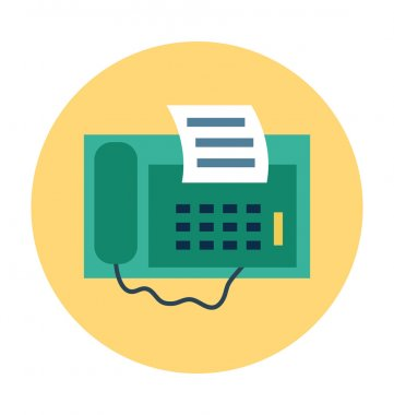 Fax Machine Colored Vector Icon