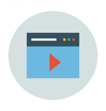 Video Player Colored Vector Illustration